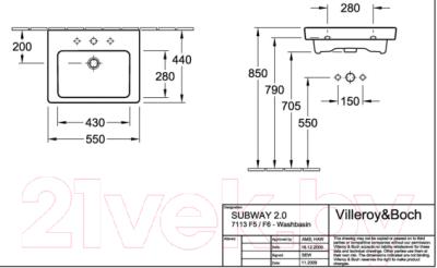 Умывальник Villeroy & Boch Subway 7113-55-01