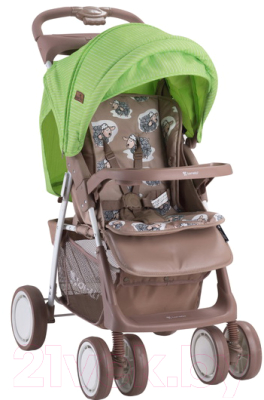 Детская прогулочная коляска Lorelli Foxy Beige Green Lambs / 10020521732A
