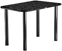 Обеденный стол Васанти Плюс ПРФ 110x70 (черный/Капли черные) -