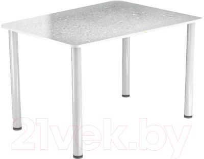 Обеденный стол Васанти Плюс ПРФ 100x60 (белый/Капли белые)