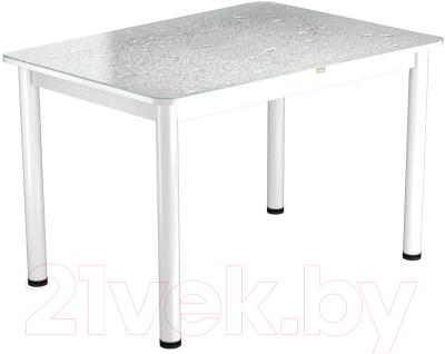 Обеденный стол Васанти Плюс ПРФ 110x70/3/ОБ (белый/Капли белые)