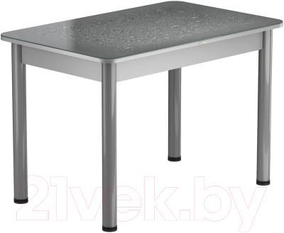 Обеденный стол Васанти Плюс ПРФ 100x60/3/ОА (алюминий/Капли серые)