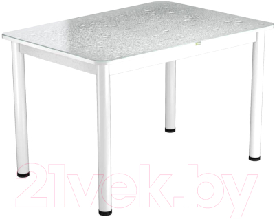 Обеденный стол Васанти Плюс ПРФ 100x60/3/ОБ (белый/Капли белые)