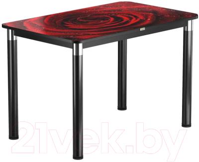 Обеденный стол Васанти Плюс Васанти-1 120x80/ОЧ (черный/хром/109)