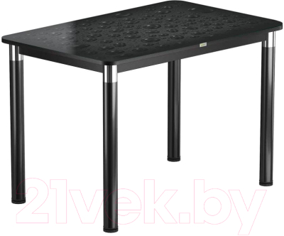 Обеденный стол Васанти Плюс Васанти-1 120x80/ОЧ (черный/хром/Капли черные)