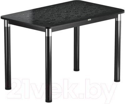 Обеденный стол Васанти Плюс Васанти-1 110x70/ОЧ (черный/хром/Капли черные)