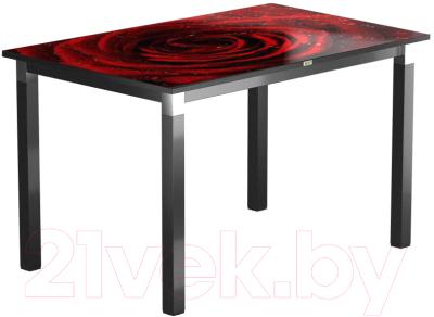 Обеденный стол Васанти Плюс Васанти-2 110x70/ОЧ (черный/хром/109)