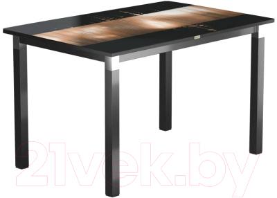 Обеденный стол Васанти Плюс Васанти-2 110x70/ОЧ (черный/хром/112)