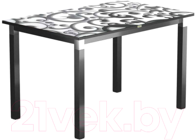 Обеденный стол Васанти Плюс Васанти-2 110x70/ОЧ (черный/хром/122)