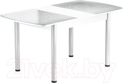 Обеденный стол Васанти Плюс БРФ 120/152x80Р/ОБ (белый/Капли белые)