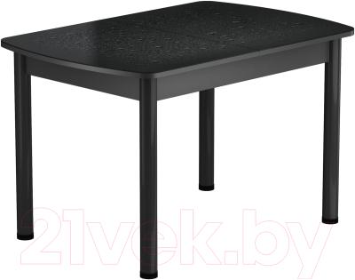 Обеденный стол Васанти Плюс БРФ 110/142x70Р/ОЧ (черный/Капли черные)