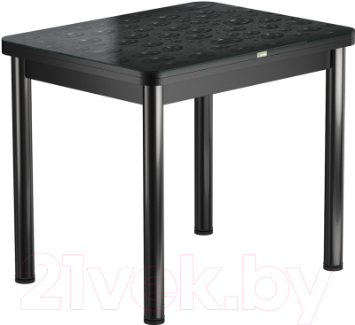 Обеденный стол Васанти Плюс ПРФ 80x60/120 РШ/ОА (черный/Капли черные)