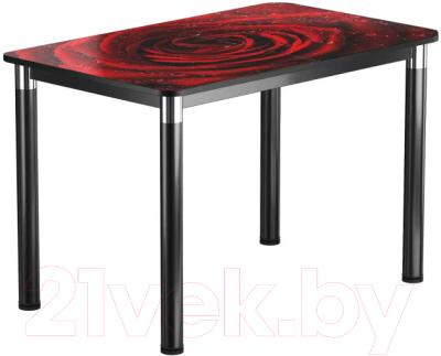 Обеденный стол Васанти Плюс Классик 120/178x80/ОЧ (черный/хром/109)