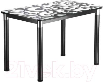 Обеденный стол Васанти Плюс Классик 110/158x70/ОЧ (черный/хром/122)
