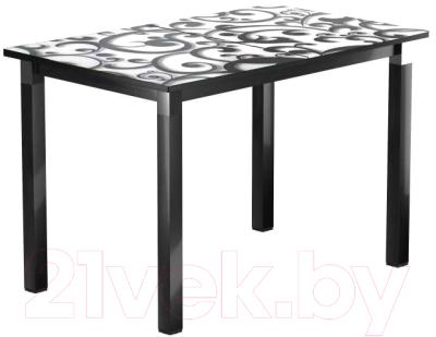 Обеденный стол Васанти Плюс Люкс 110/158x70/ОЧ  (черный/хром/122)