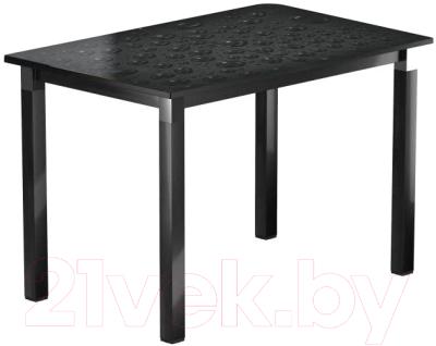 Обеденный стол Васанти Плюс Люкс 110/158x70/ОЧ (черный/хром/Капли черные)