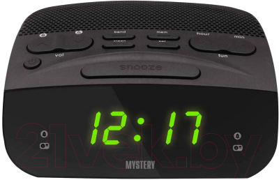 Радиочасы Mystery MCR-23 (черный/зеленый)