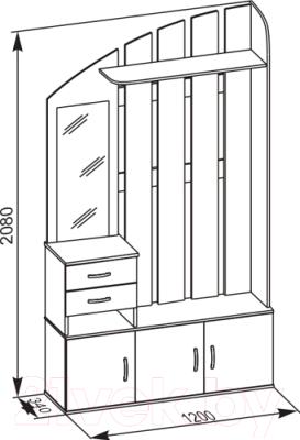 Секция в прихожую Сокол-Мебель ВШ-2.2 (венге/беленый дуб)