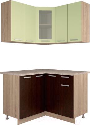 Готовая кухня Интерлиния Мила 12x12 (салатовый/дуб венге)