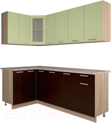 Готовая кухня Интерлиния Мила 12x21 (салатовый/дуб венге)