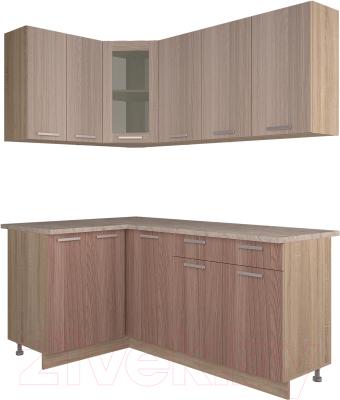 Готовая кухня Интерлиния Мила 12x18 (ясень светлый/ясень темный)