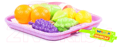 Набор игрушечных продуктов Полесье Набор продуктов №2 с посудкой и подносом / 46970 (21эл, в сеточке)