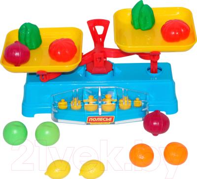 Весы игрушечные Полесье Весы с набором продуктов / 53787 (12эл, в сеточке)