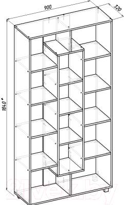 Стеллаж Мебель-Класс Мэдисон-2 (венге/дуб шамони)