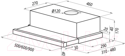 Вытяжка телескопическая Maunfeld VS Light (C) Ln 60 (черный) - cхема встраивания
