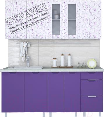 Готовая кухня Интерлиния Арт Мила 12x15 (арт фиолет) - пример цветового решения