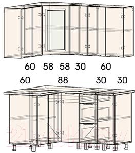 Готовая кухня Интерлиния Арт Мила 12x15 (арт фиолет)