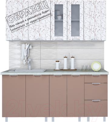 Готовая кухня Интерлиния Арт Мила 14x24 (арт шоколад) - образец цветового решения