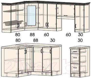 Готовая кухня Интерлиния Мила Шале 14x21 (белое дерево)