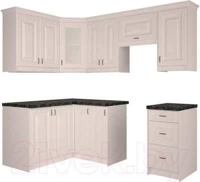 Готовая кухня Интерлиния Мила Шале 14x22 (белое дерево)