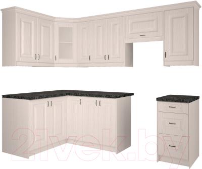 Готовая кухня Интерлиния Мила Шале 14x25 (белое дерево)