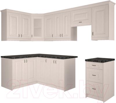 Готовая кухня Интерлиния Мила Шале 14x26 (белое дерево)