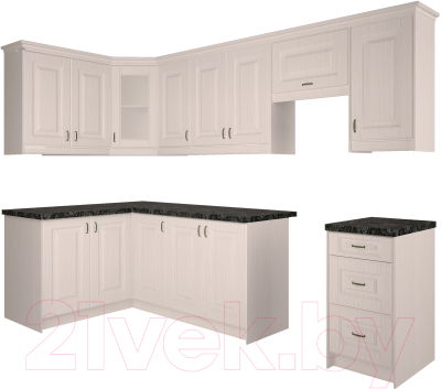 Готовая кухня Интерлиния Мила Шале 14x28 (белое дерево)
