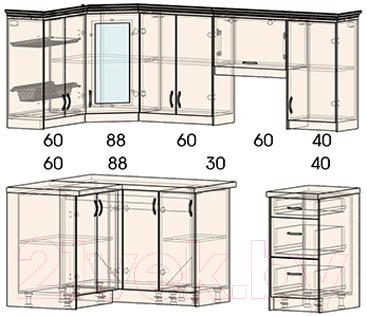 Готовая кухня Интерлиния Мила Шале 12x22 (ясень крем)