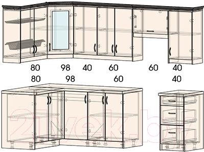 Готовая кухня Интерлиния Мила Шале 14x26 (ясень крем)