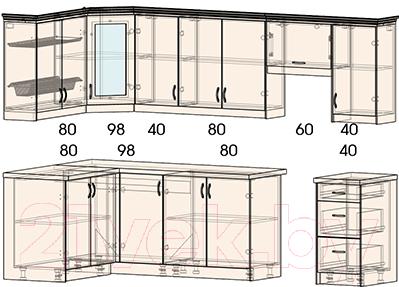 Готовая кухня Интерлиния Мила Шале 14x28 (ясень крем)