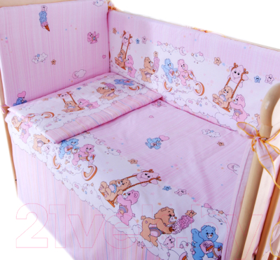 Комплект постельный в кроватку Баю-Бай Забава К90-З1 (розовый)