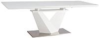 Обеденный стол Signal Alaras III 160-220x90 (белый лак/белый) -