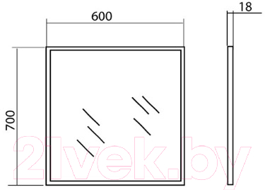 Зеркало Аква Родос Акцент 60 / AP0001674 (с подсветкой)