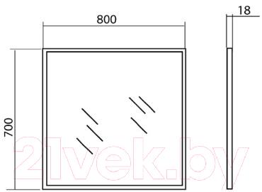 Зеркало Аква Родос Акцент 80 / AP0001675 (с подсветкой)