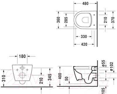 Унитаз подвесной с инсталляцией Duravit Set Me by Starck (45300900A1+111300005)