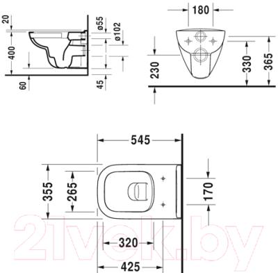 Унитаз подвесной Duravit Set D-Code 45700900A1