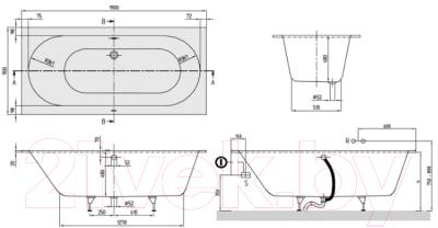 Ванна квариловая Villeroy & Boch Oberon Duo 190x90 / UBQ199OBE2V-01 (с ножками)