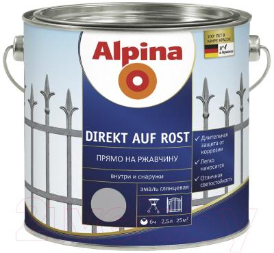 Эмаль Alpina Direkt auf Rost RAL9006 (2.5л, серебристый)