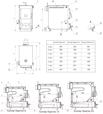 Твердотопливный котел Теплодар Куппер Практик 14 - монтажные размеры