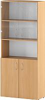 Шкаф с витриной Славянская столица С-215.522.S2-2 (бук) -